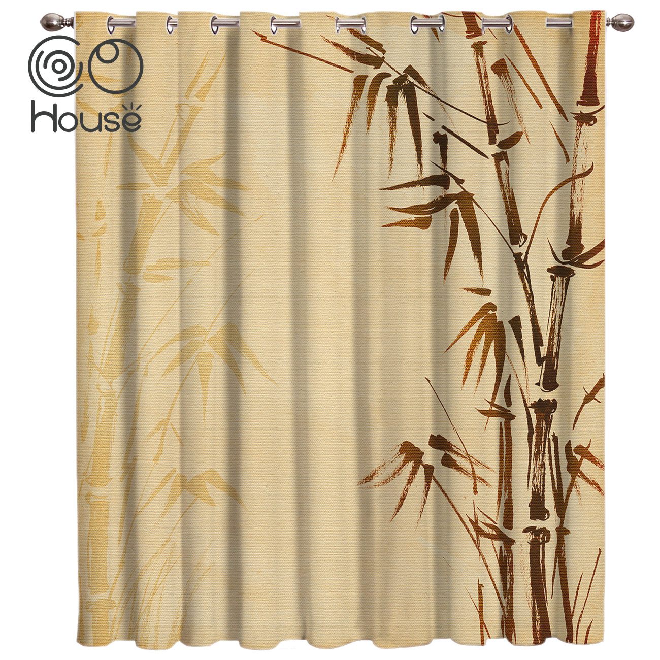 Plant Bamboo Window Treatments Curtains Valance Room Curtains Large Window Curtain Rod Decor Outdoor Kitchen Curtains Aliexpress