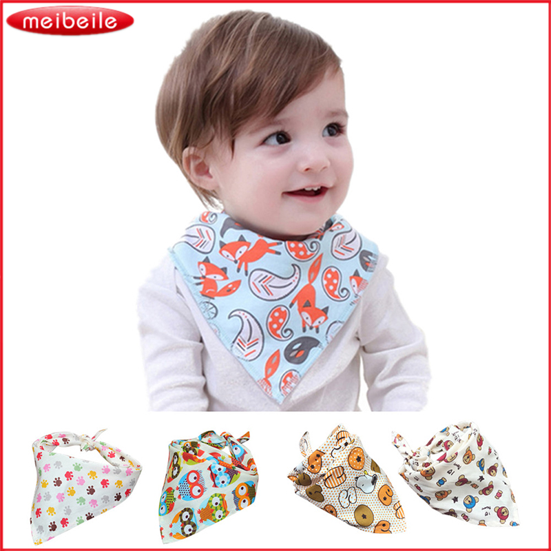 Cute Cartoon Printed Letters Baby Bibs Newborn Cotton Soft Triangle Scarf Bib Saliva Towel Toddler Burp Clothes Knitting Bandana
