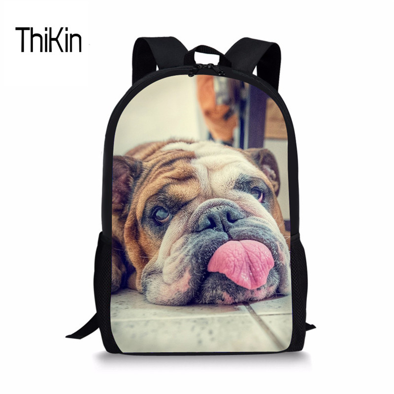 THIKIN Kids Schoolbags Backpacks Cute French Bulldog Printing Bookbag Brand Designer School Bag Women Female Satchel Tourist New