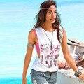 GZDL Vogue Señoras de Las Mujeres Del O-cuello Elástico Sin Mangas Impreso Floral Casual Loose Beach Wear Summer Tops Camiseta Blusas CL3044