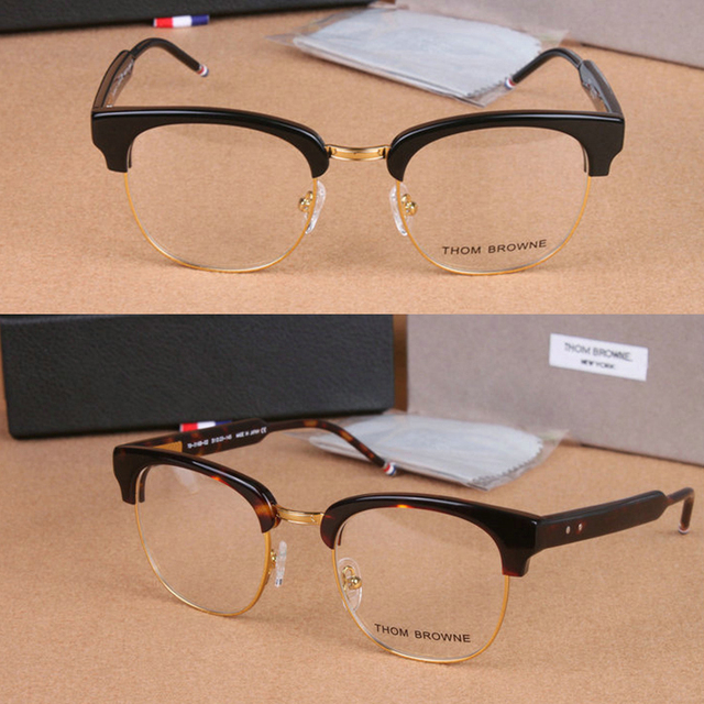 2b26feb554c0 Half-frame glasses brand THOM BROWNE vintage frame myopia men and women  fashion people round optical frames with original box