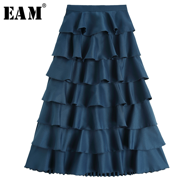 [EAM] 2020 New Spring Summer High Elastic Waist Black Draped Brief Ruffles Temperament Half-body Skirt Women Fashion Tide JX985