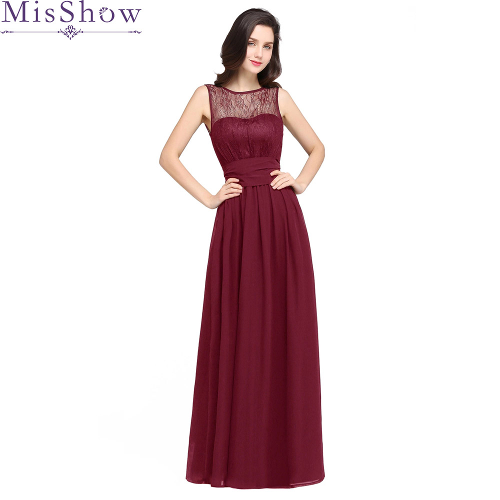 Burgundy   Bridesmaid     Dresses   2019 A-line Scoop Women Formal Wedding Party Gowns Floor-Length Backless Chiffon Party Prom   Dress