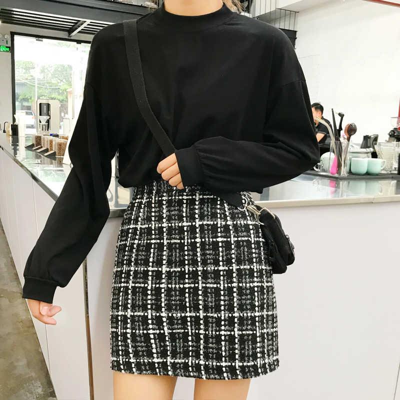 96946f9005 2018 autumn and winter new student tweed high waist A bag hip wool skirt