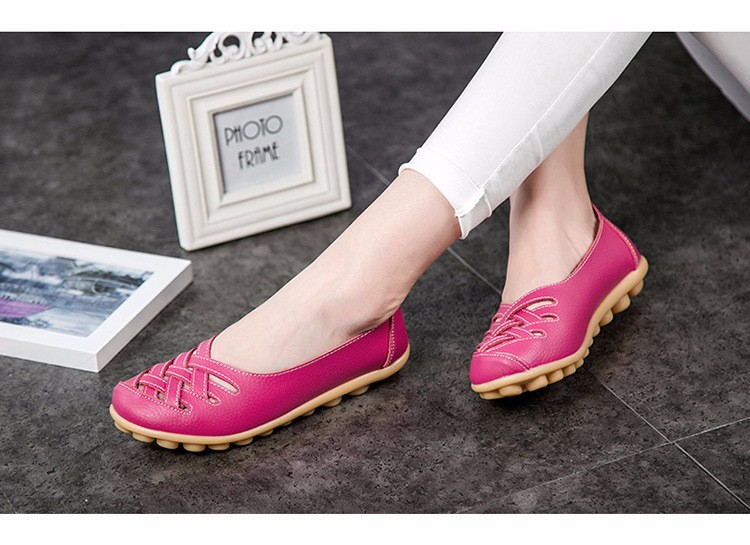 Hot Sale 2016 Spring New PU Leather Woman Flats Moccasins Comfortable Woman Shoes Cut-outs Leisure Flat Woman Casual Shoes ST181 (35)