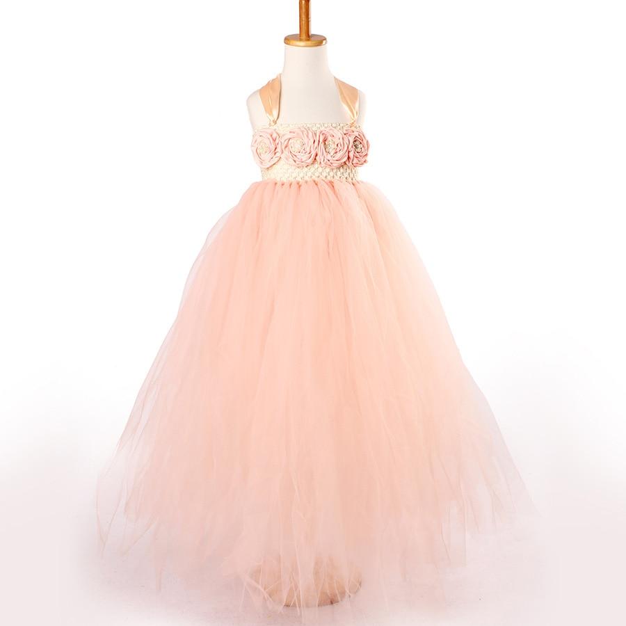 Handmade Fairy Peach Flower Girls Wedding Tutu Dress Princess Kids Ball Gown Dress for Girls Pageant Party Clothes Tulle Dress 5