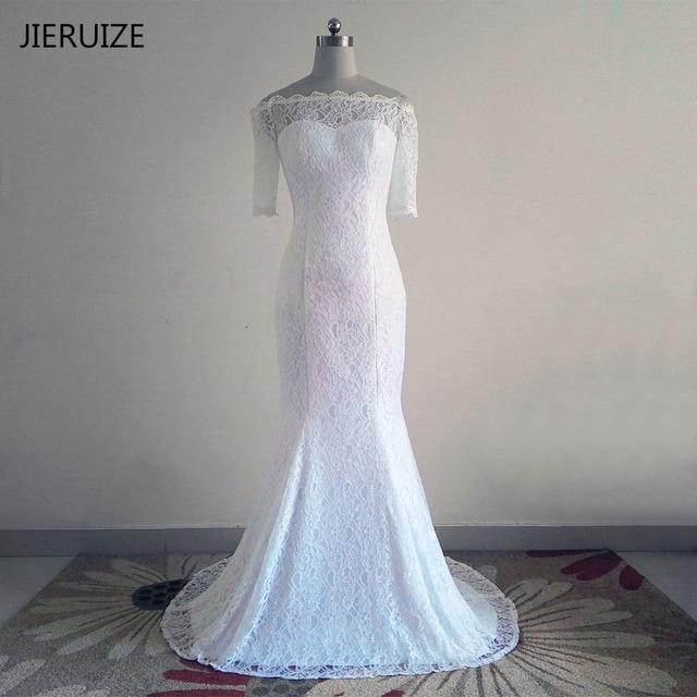 JIERUIZE Branco Vintage Lace Sereia Vestidos de Casamento Fora do Ombro Mangas Meia Vestidos de Noiva Barato vestidos de novia