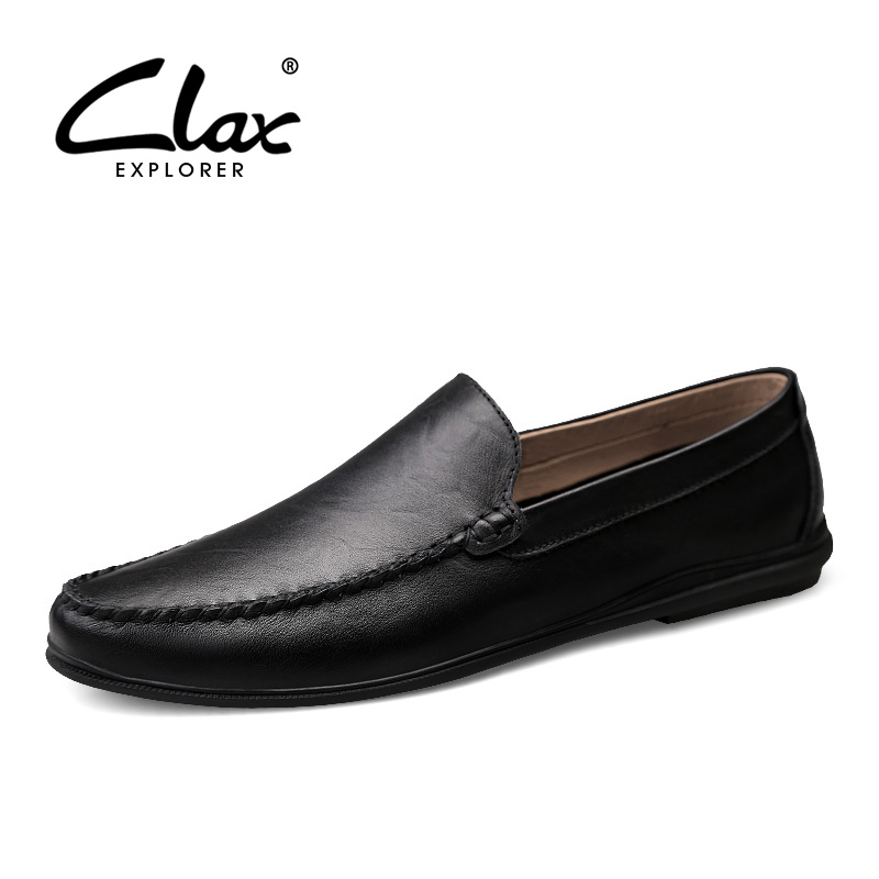 CLAX Men's Moccasins 2019 Summer Man Leather Shoes Slipons Male Boat Shoe Flat Loafers Breathable