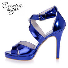 5c0393a1b5d41 Creativesugar glossy PU sandals woman summer shoes metallic colors thin  heelsl platform party prom cocktail silver gold blue