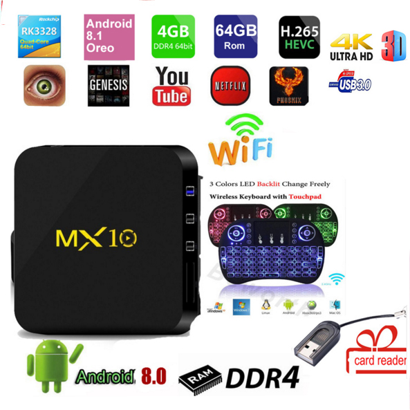 MX 10 TV BOX Android 8.1 mx10 4 gb DDR4 32 gb/64 gb RK3328 Quad Core KD18.0 4 k 2.4 ghz WIFI USB 3.0 lettore di carta regalo no bluetooth
