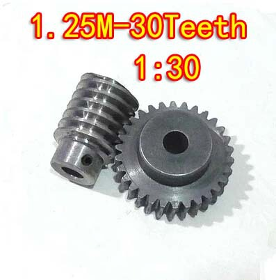 D:41.25MM  1.25M-30T  Speed ratio:1:30  45# steel  Worm gear+wore rod --gear hole:10mm  rod hole:8mm 1 digital stainless steel worm gear diy toy research and manufacture of the transmission mechanism of the speed ratio 1 20