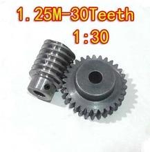 Diameter:41.5mm  1.25m model of metal copper worm gear 45# steel --30teeths Worm +worm hole 10mm