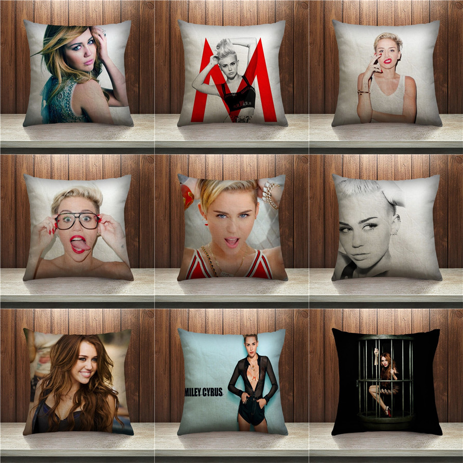 Miley Cyrus Pillow Hot Selling Case Cushion Pillow Sofa Bedroom Home Decorative Throw Pillow Sequin Cushion Cover For Your Life
