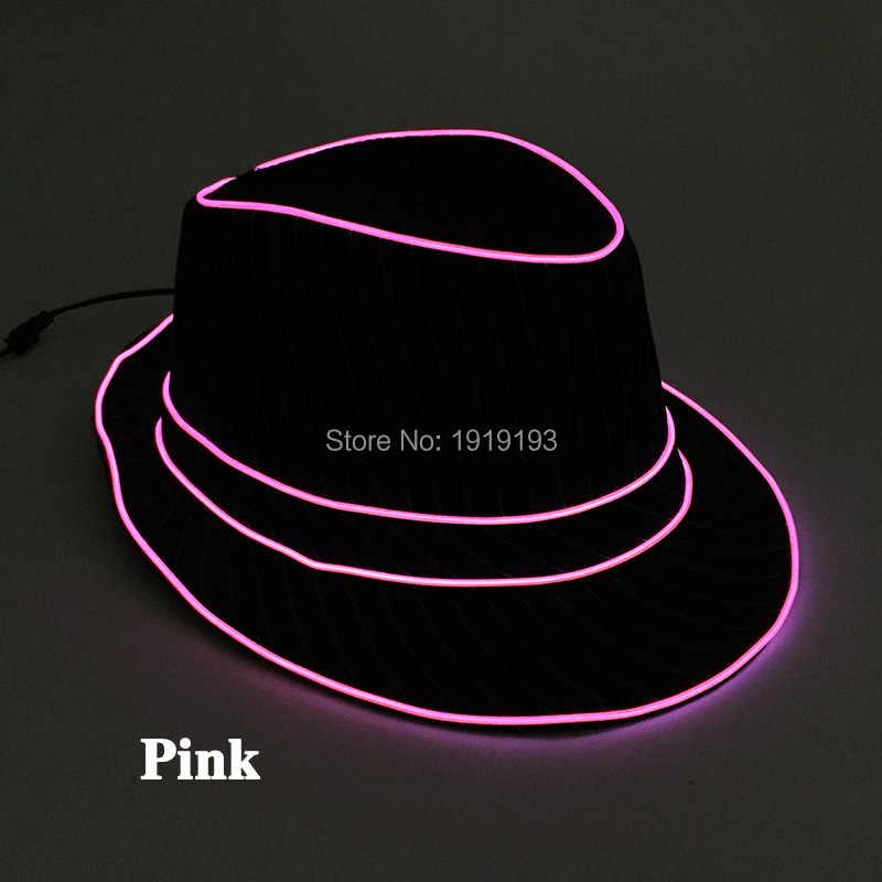 201d9c4432e DC3V Jazz Dancer Favors EL Wire Glowing Streak Gentleman Cap Attractive  Crazy Led Strip Neon Top