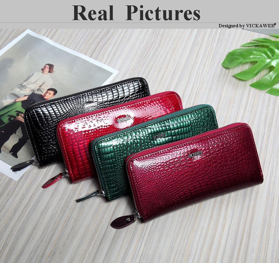 VICKAWEB Wristlet Wallet Purse Genuine Leather Wallet Female Long Zipper Women Wallets Card Holder Clutch Ladies Wallets AE38-004
