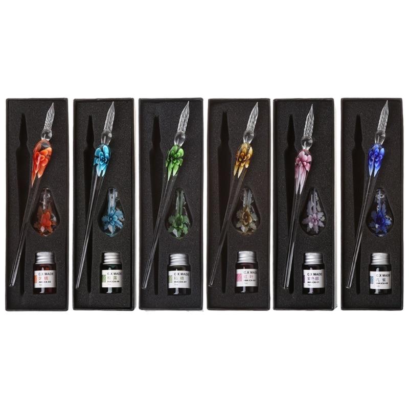 Vintage Handmade Art Elegant Crystal Floral Glass Dip Pen Sign Ink Pens Gift