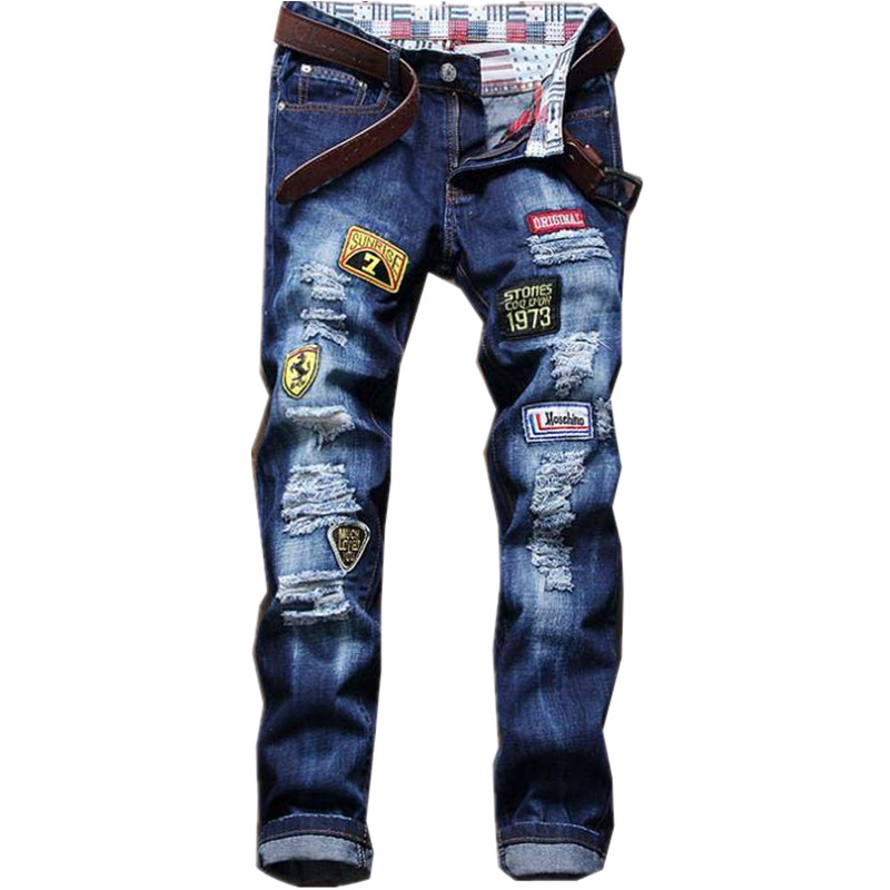 France USA England New Trendy Personalized Printing Graffiti Badge Patch Hole Female Youth Men Trousers Punk Pants Lightweight