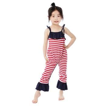 Kaiya Angel Hot Sale 4th of July Newborn Baby Girls Romper Striped Body Solid Ruffle Tollder Cotton Jumpsuit 5pcs/lot Wholesale