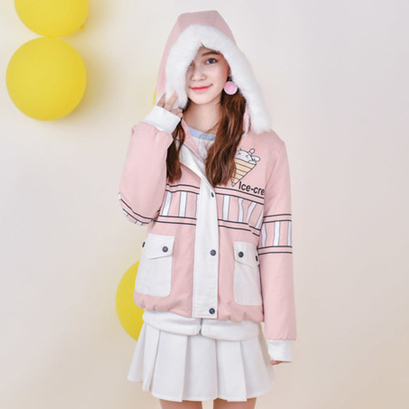 Mori Girl 2016 Winter Women Original Short Down Clothes Coat Hooded Long Sleeve Loose Warm Print