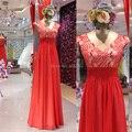 Muestra Real de fotos una línea de cuello V manga casquillo lentejuelas encaje rojo vestido de fiesta piso longitud vestido de noche vestido vermelho