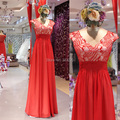Real Sample Photo A Line V Neck Cap Sleeve Sequined Lace Red Prom Dress Floor Length Evening Gown vestido vermelho