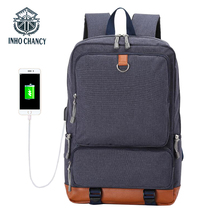 INHO CHANCY  New USB Charging Backpack Man Oxford Cloth Bags Large Capacity Laptop Bag Travel Back Pack Student School Lady
