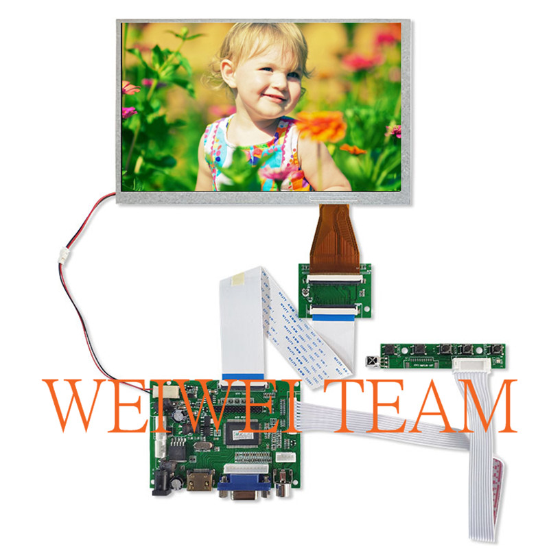A070VW04 V0 Display Panel 7 Inch 800*480 Industry LCD Screen With VGA HDMI TTL 60 Pins LCD Controller Board Testing Before Ship