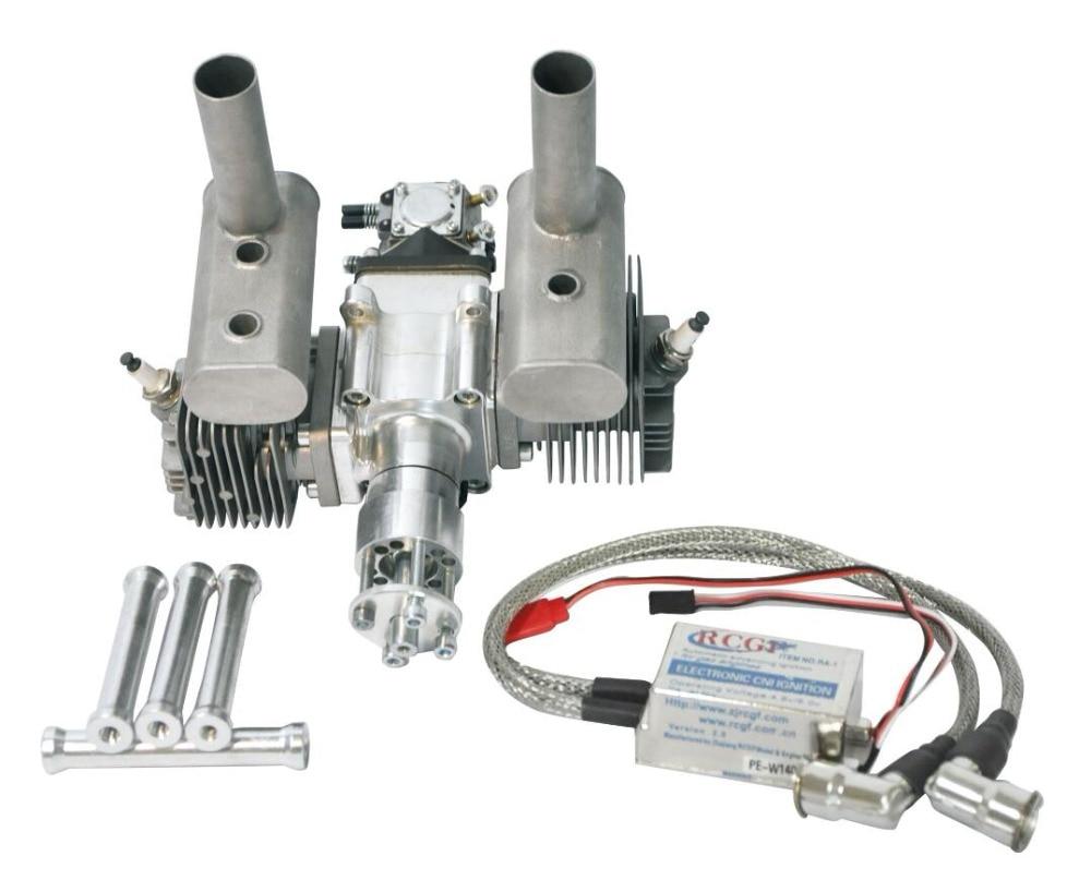 RCGF 50cc Doppia Con Letti Singoli Cilindri A Benzina/Motore A Benzina A Doppio Cilindro con Silenziatore/Igniton/Spark Plug per il Modello di RC aereo