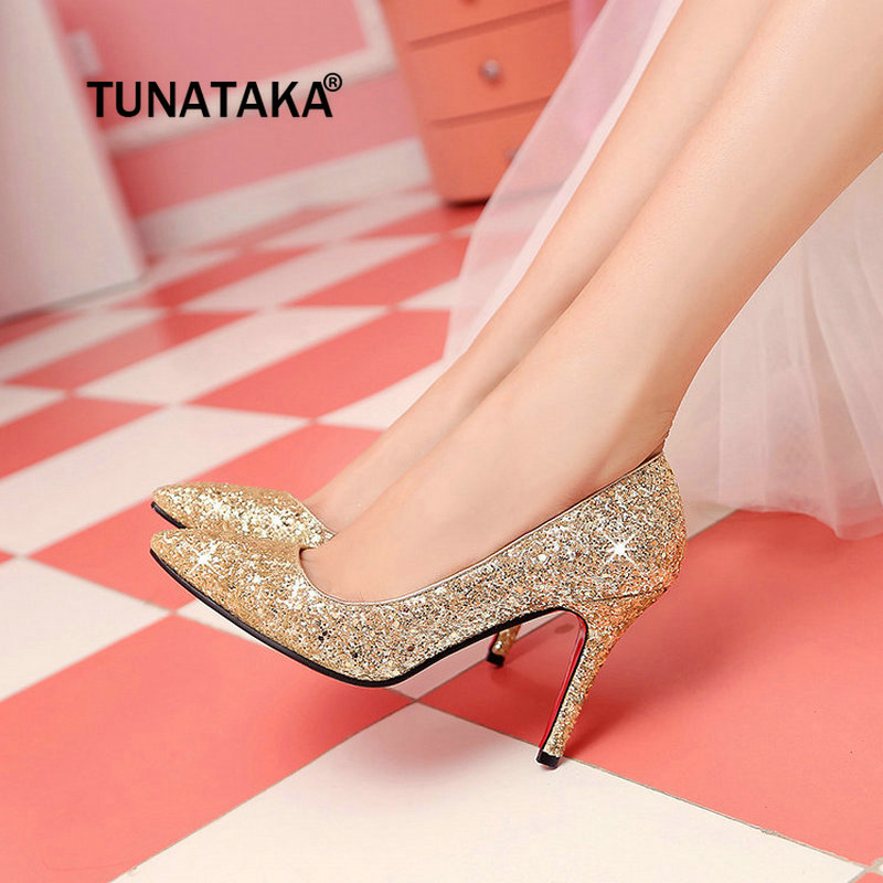 Women Fashion Sequined Cloth Sexy Thin High Heels Pointed Toe Party Wedding Bride Spring Fall Pumps Shoes Red Gold Silver