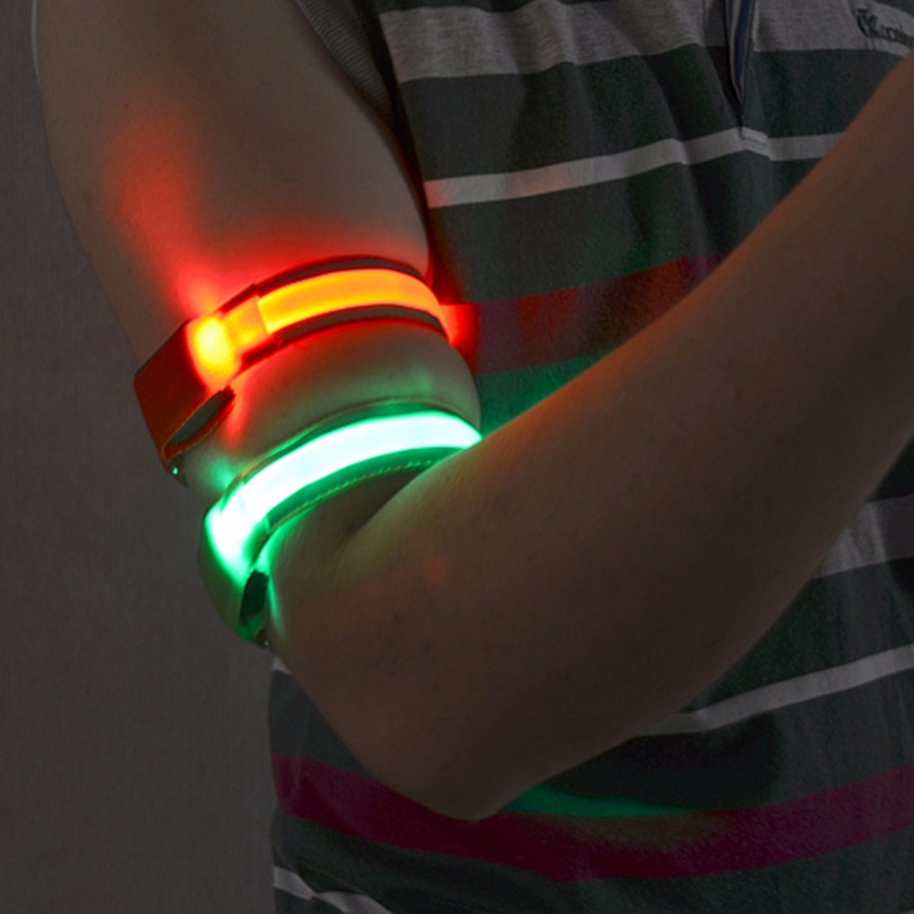 flash led safety reflective belt strap snap wrap arm band. Black Bedroom Furniture Sets. Home Design Ideas