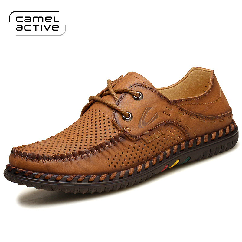 Camel Active Size 38-44 Flats Breathable Hollow Out Genuine Leather High Quality Fashion Driving Men Shoes Casual Shoes Loafers