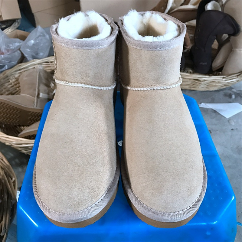 Hemmyi Women Classic Snow Boots High quality Sheepskin Kid Suede Winter Warm Wool Ankle Boots Unisex
