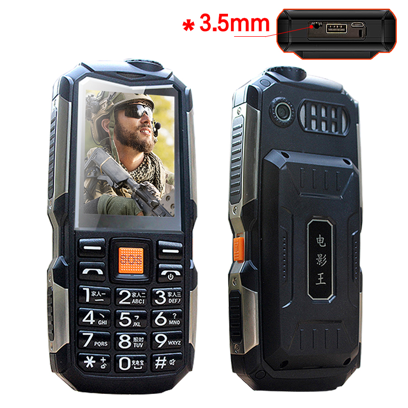 L18 shockproof 3.5mm earphone jack power bank flashlight SOS speed dial wireless FM radio rugged senior mobile phone P033