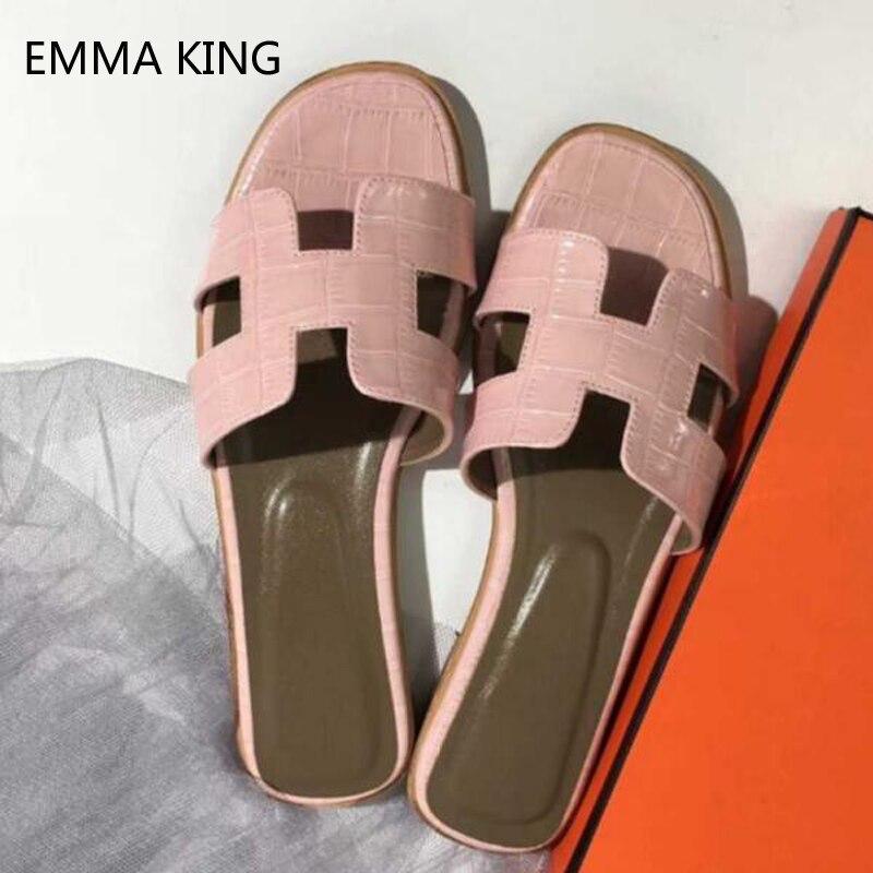 2019 rose Croc cuir été extérieur pantoufles femmes H découpé mode personnalisé plage plat sandales dames chaussures