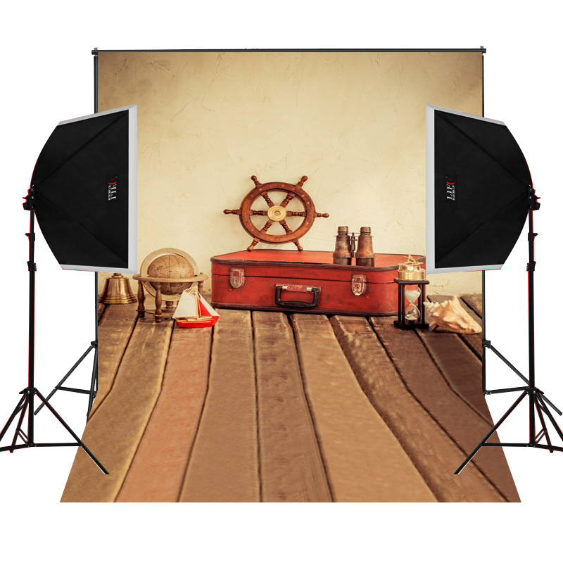 Red suitcase globe scenic for kids photos camera fotografica studio vinyl photography background backdrop cloth digital props