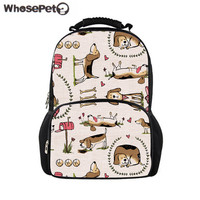 WHOSEPET Students School Backpacks for Women Large Felt Backpack Beagle Dog Printing Shoulder Bagpack Girls Book Bag Rucksack