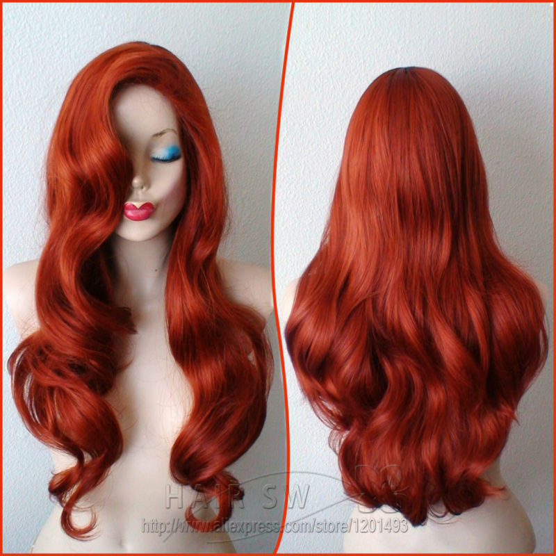 Jessica Rabbit Cosplay Wig Copper Red Hair Long Wavy Hairstyle Wig