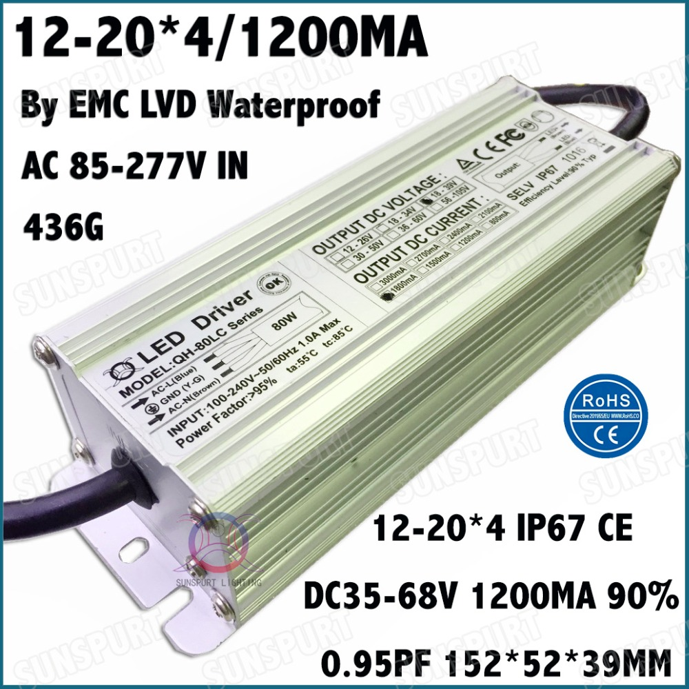 2 Pcs By EMC LVD IP67 80W AC85-277V LED Driver 12-20Cx4B 1200mA DC35-68V Constant Current LED Power For Spotlights Free Shipping