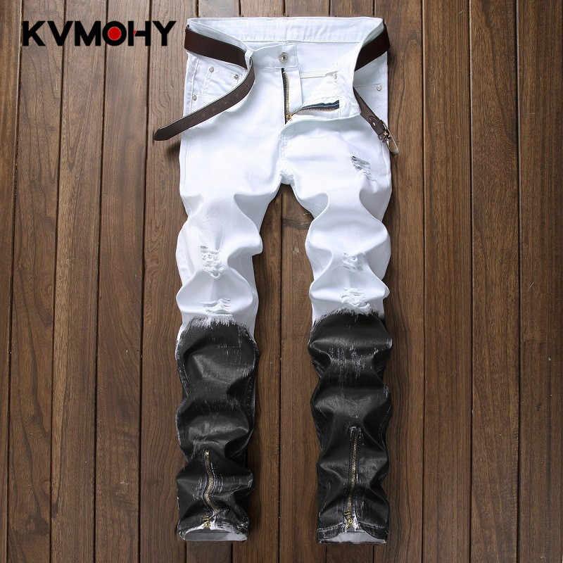 Jeans Men High Quality Fashion Denim Jean New Hip Hop Design White Skinny Biker Retro Jeans For Male Ripped Streetwear Plus Size