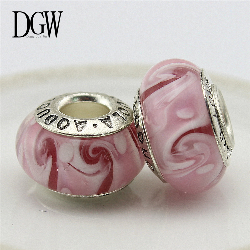 Dgw 10 Style Flower Murano Glass Beads Fit Pandora Bracelet Bangles Charms  Original European Diy Jewelry