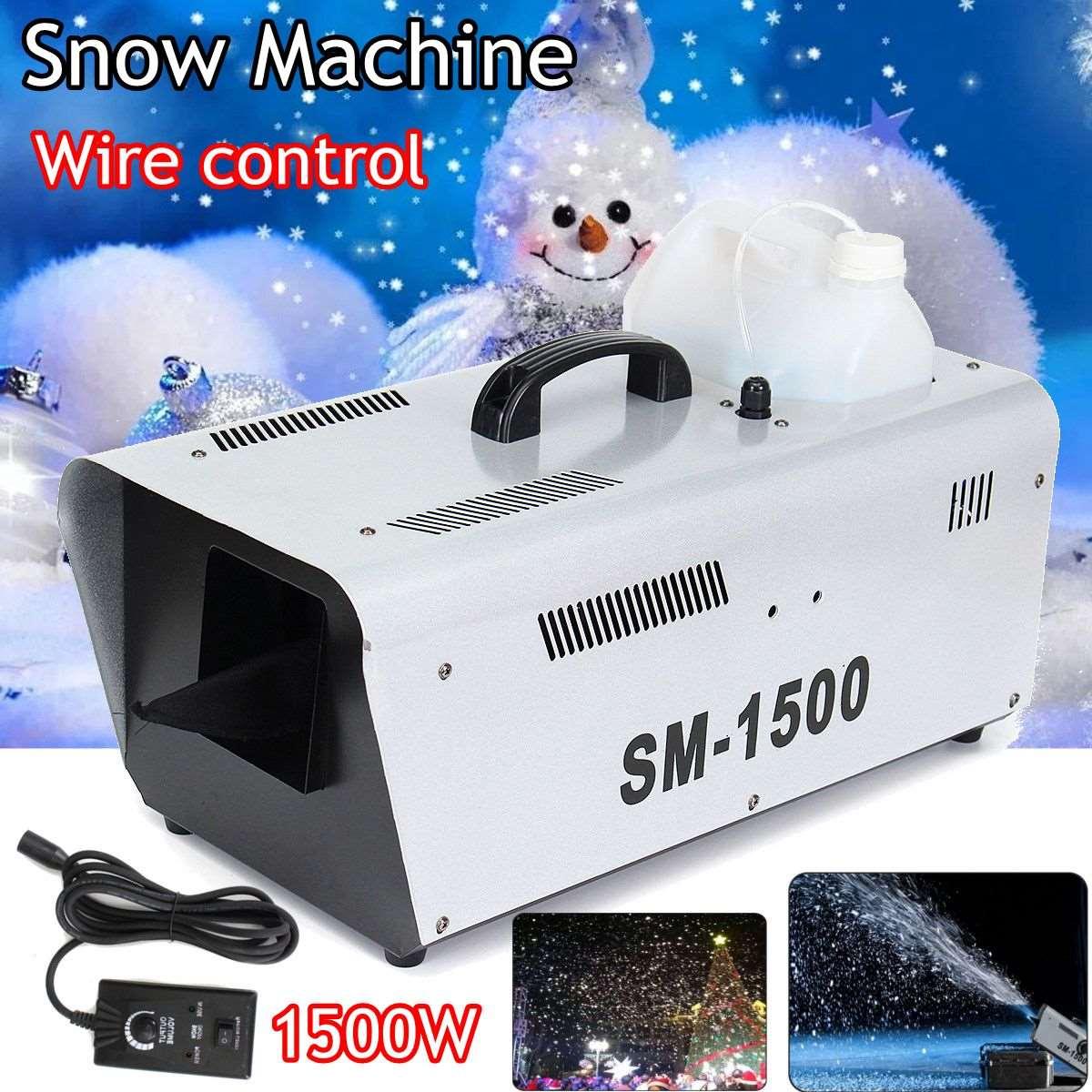 110V/220v 1500W High Output Snow Machine Artificial DJ Disco w Remote & 5L Fluid