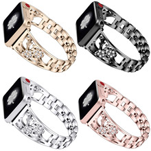 Vrouwen Diamant Bloem Band Voor Apple Horloge Serie 1 2 3 4 Roestvrij Stalen Band Voor iWatch 38/40mm 42/44mm Pruimenbloesem Armband