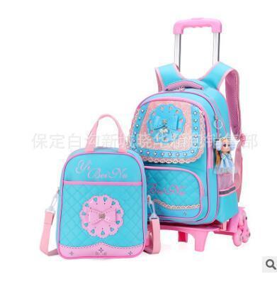 Pu School Bags Trolley Wheels Children Luggage Rolling Backpacks Kids Wheeled Bag For Girl Travel Trolley Backpack Bags For Kids
