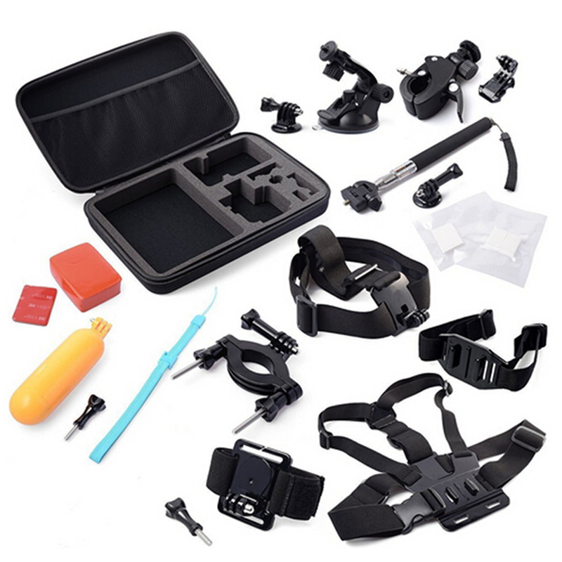 Action Camera Accessories Kit Chest +Head Strap + Floating Grip +Handlebar Seatpost + Monopod +Suction Cup For SJCAM/Eken