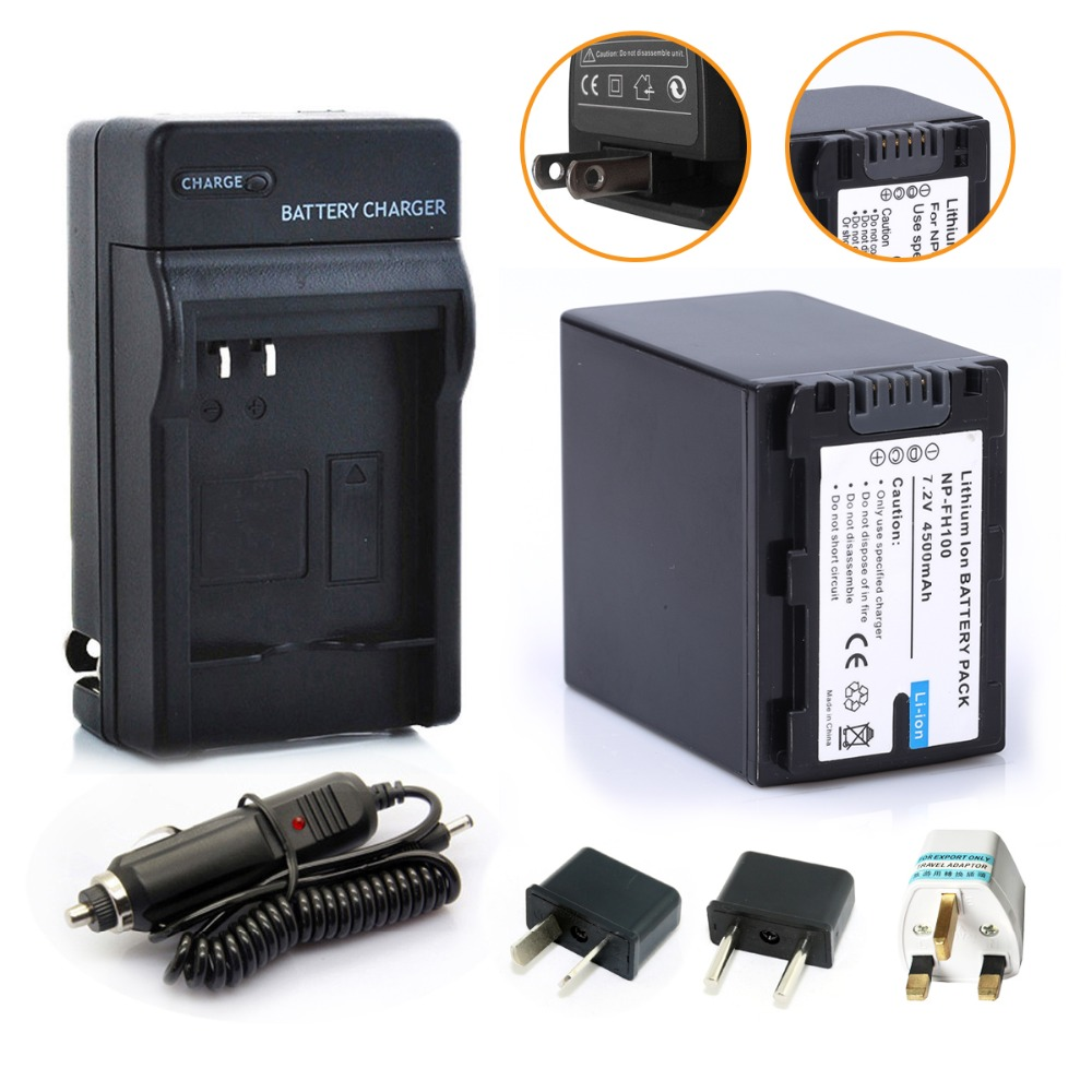 1* 4500mAh NP-FH100 NP FH100 NPFH100 Battery + 1* Charger For SONY NP-FH70 FH50 FH30 SX40R