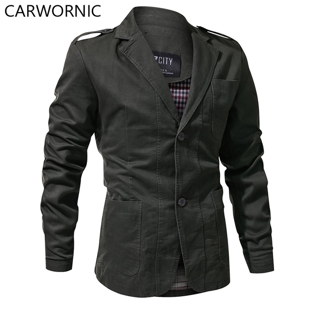 CARWORNIC Tactical Windproof Pilot Jackets Men Casual Army Flight Jacket Cotton Notched Pocket Military Field Outerwear Coats