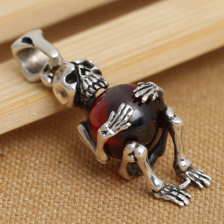Handmade 925 silver Skeleton Pendant vintage thai silver red zircon skull pendant male necklace pendant punk jewelry gift