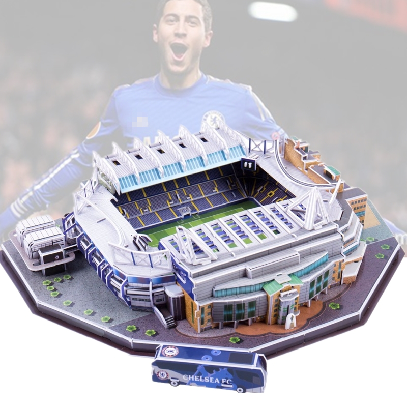 Classic Jigsaw 3D Puzzle Architecture United Kingdom Stamford Bridge UK Football Stadiums Toys Scale Models Sets Building Paper