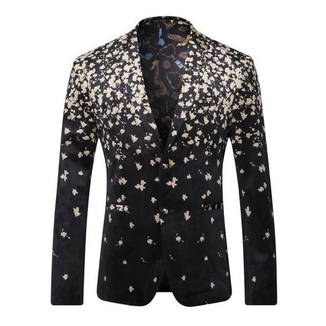 Европа и соединенные Штаты мужская одежда осенью 2016 новая зима С Длинным рукавом мода цифровой цветочные набивным бархатом куртки