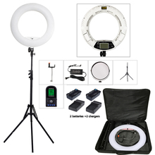 Yidoblo FE 480II שני צבע להתאים טבעת אור 480 LED מנורת וידאו איפור selfie צילום תאורה + stand + תיק + ערכת סוללה
